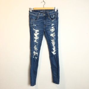 American Eagle Distressed Blue Jeggings Size 2